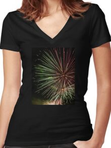 Fireworks Green Women's Fitted V-Neck T-Shirt