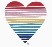 Big Heart Rainbow One Piece - Short Sleeve