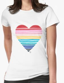 Big Heart Rainbow Womens Fitted T-Shirt