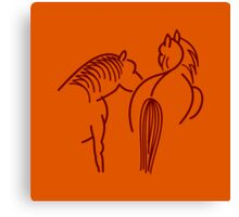 Two Horses (dark brown) Canvas Print