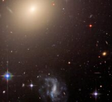 Giant Elliptical Galaxy and its Host Galaxy Cluster. Sticker