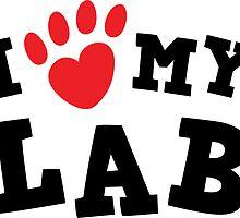 I love (pawprint heart) my lab labrador retriever sticker - black and red by Mhea
