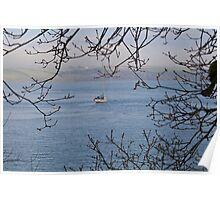 Moored Yacht in Carrick Roads Cornwall Poster