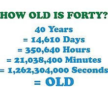 How old is 40 really? Photographic Print