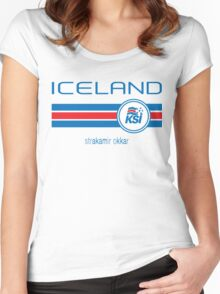 Euro 2016 Football - Iceland (Away White) Women's Fitted Scoop T-Shirt