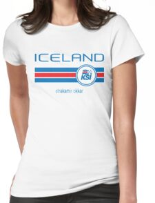 Euro 2016 Football - Iceland (Away White) Womens Fitted T-Shirt