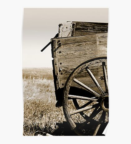 Antique Wooden Wagon in a Field Poster