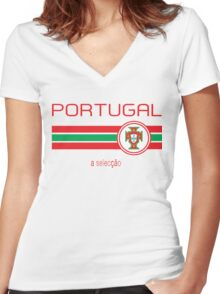 Euro 2016 Football - Portugal (Away White) Women's Fitted V-Neck T-Shirt