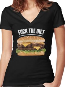 FUCK THE DIET-WHITE Women's Fitted V-Neck T-Shirt