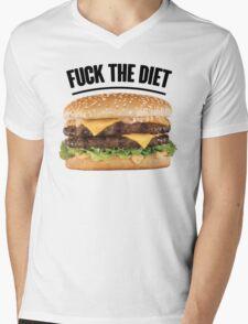 FUCK THE DIET-BLACK Mens V-Neck T-Shirt