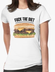 FUCK THE DIET-BLACK Womens Fitted T-Shirt