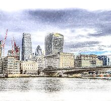 City of London and River Thames Snow Art by DavidHornchurch