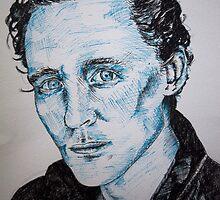 Tom Hiddleston portrait using pen by Sarah Horsman