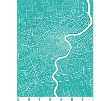 Shanghai map turquoise Photographic Print