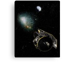 Earth, a Milky Way object, and the Spitzer Space Telescope. Canvas Print