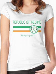 Euro 2016 Football - Republic of Ireland (Away White) Women's Fitted Scoop T-Shirt