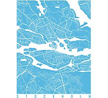 Stockholm map blue Photographic Print