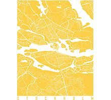 Stockholm map yellow Photographic Print