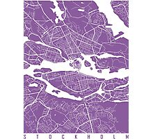 Stockholm map lilac Photographic Print