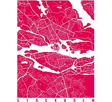 Stockholm map raspberry Photographic Print