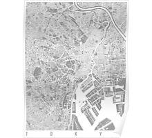 Tokyo map grey Poster