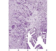Tokyo map lilac Photographic Print