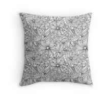 Monochrome doodle flowers  Throw Pillow