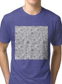 Monochrome doodle flowers  Tri-blend T-Shirt