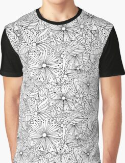 Monochrome doodle flowers  Graphic T-Shirt