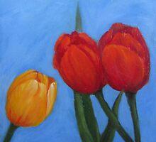 Three Tulips by Roseann Gilmore