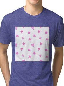 Sweat pink watercolor hearts Tri-blend T-Shirt