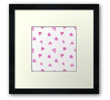 Sweat pink watercolor hearts Framed Print