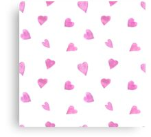 Sweat pink watercolor hearts Canvas Print