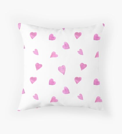 Sweat pink watercolor hearts Throw Pillow