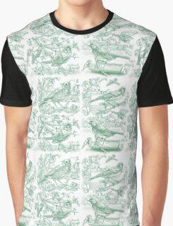 Garden Birds - Pale Green Graphic T-Shirt