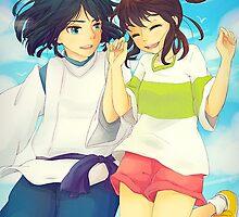 Chihiro and Haku - Spirited Away by dkaufman
