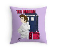 The Madman With A Box Purple Throw Pillow Throw Pillow