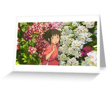 Running through the Flowers - Spirited Away Greeting Card