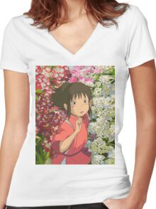 Running through the Flowers - Spirited Away Women's Fitted V-Neck T-Shirt