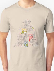 Cute owl and flowers  Unisex T-Shirt