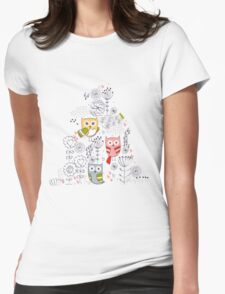 Cute owl and flowers  Womens Fitted T-Shirt