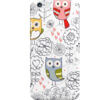 Cute owl and flowers  iPhone Case/Skin