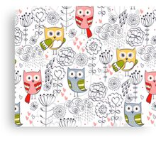 Cute owl and flowers  Canvas Print