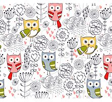 Cute owl and flowers  Photographic Print