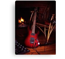 Electric guitar propped on chair near fireplace art photo print Canvas Print