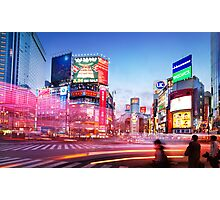 Intersection Shibuya Tokyo colorful lights art photo print Photographic Print