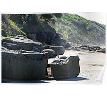 Yamba Beach Rock Formation Poster