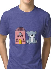 Cute bear and flowers  Tri-blend T-Shirt