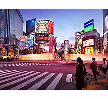 Brightly lit intersection of Shibuya Tokyo art photo print Photographic Print