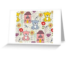 Cute bear and flowers  Greeting Card